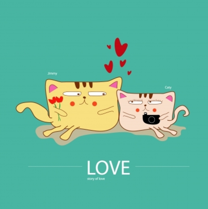 2 cartoon cats with love hearts between them