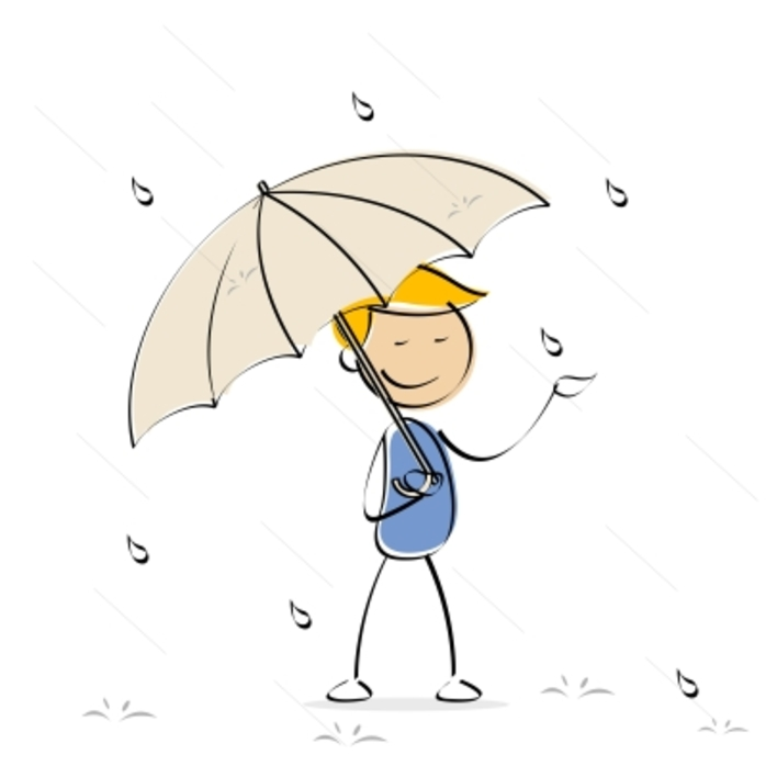 a cartoon character holding an umbrella in the rain