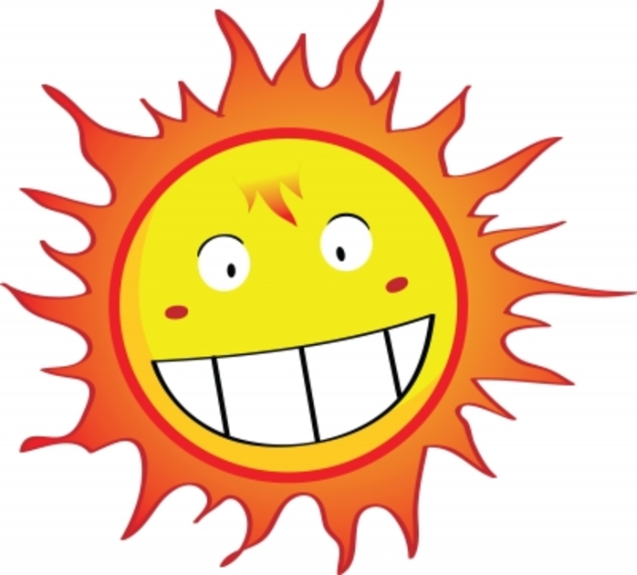 A cartoon pic of a smiling sun