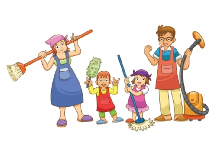 A family with cleaning equipment