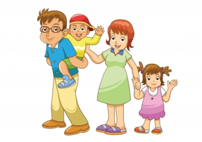 a happy looking cartoon family