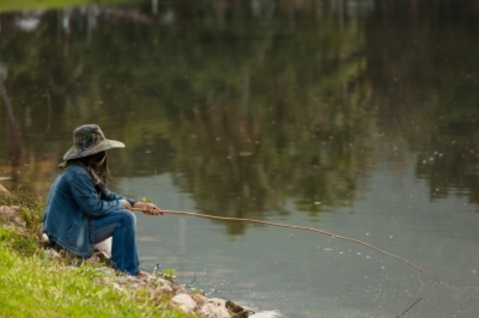a lady fishing