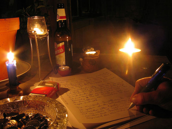 A picture of someone writing