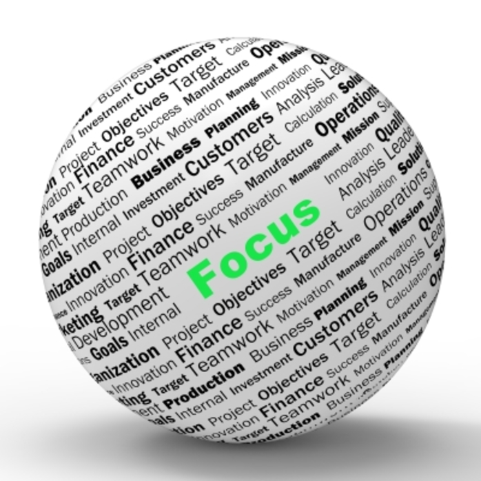 a sphere with 'focus' written on it