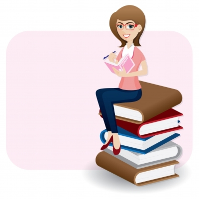 a young woman sitting on a pile of books
