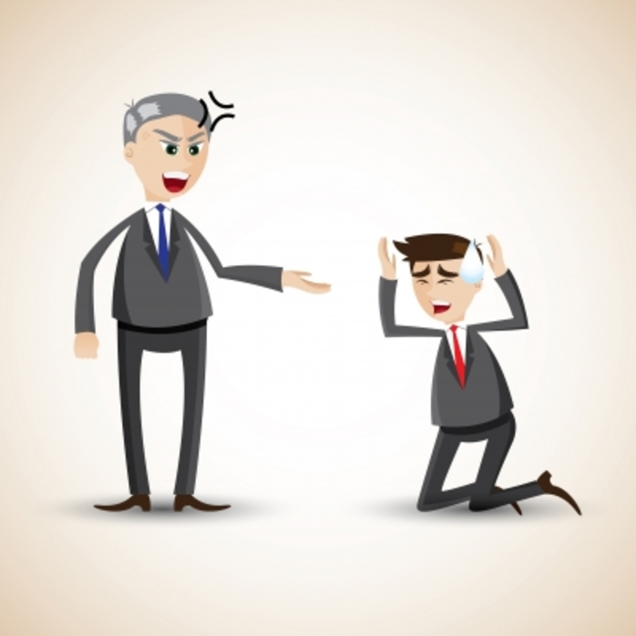 An angry boss yelling at employee