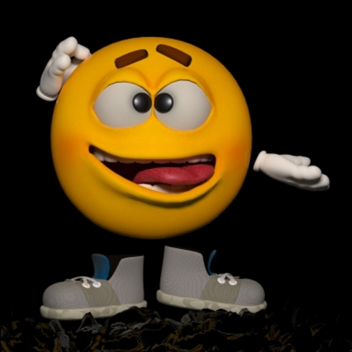 An emoticon figure scratching their head