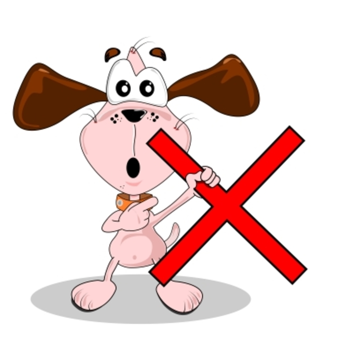 cartoon dog with an X in front of him