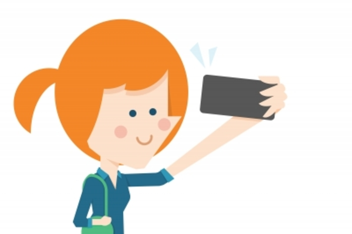cartoon girl taking a 'selfie'
