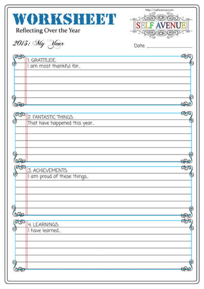 Your Year Worksheet Self Avenue