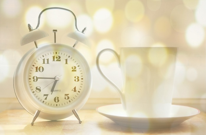 Clock and cup