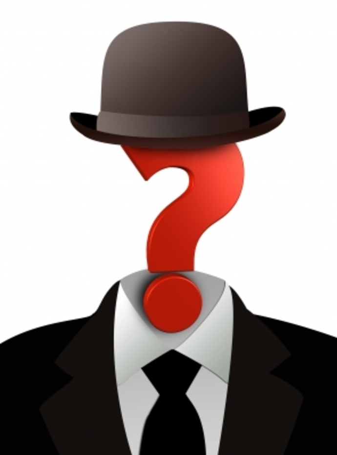 Man in suit with question mask as face