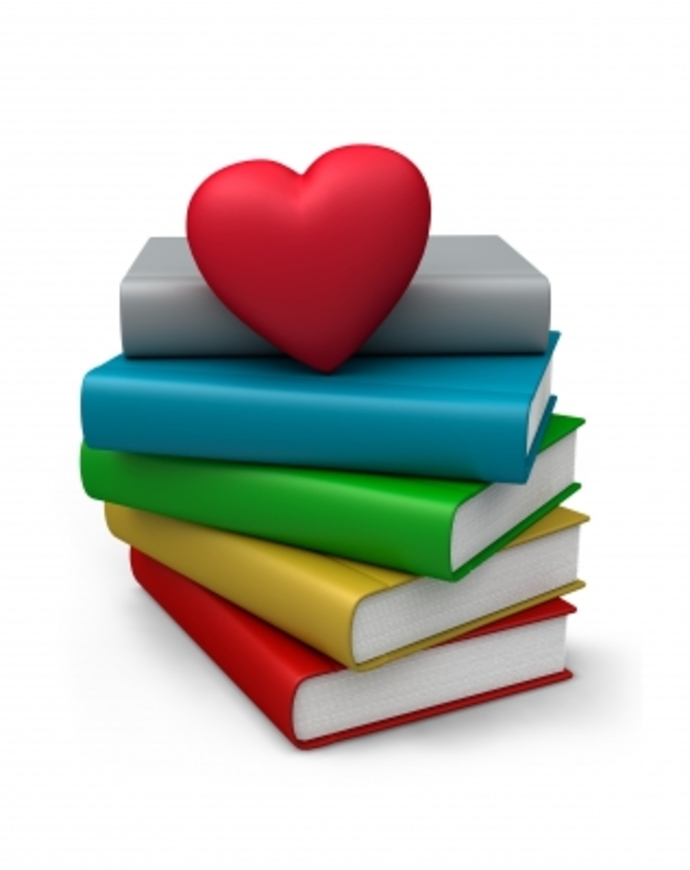 Pile of Books with Heart