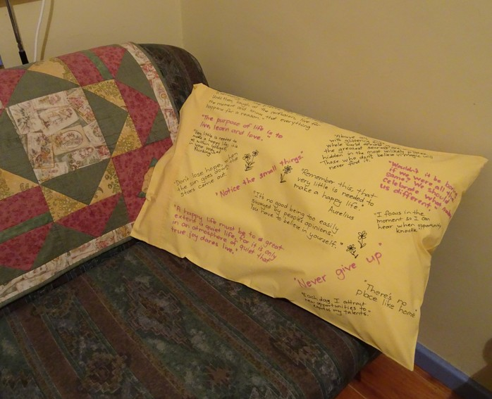 Pillow Decorated With Quotes