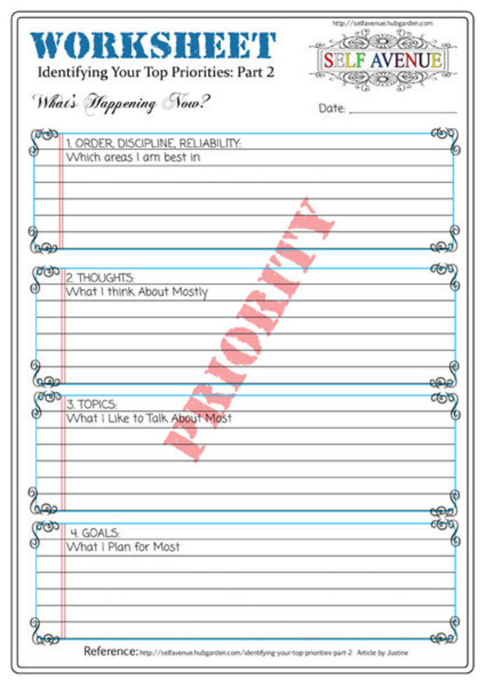 printable worksheet,priorities worksheet,self help printable