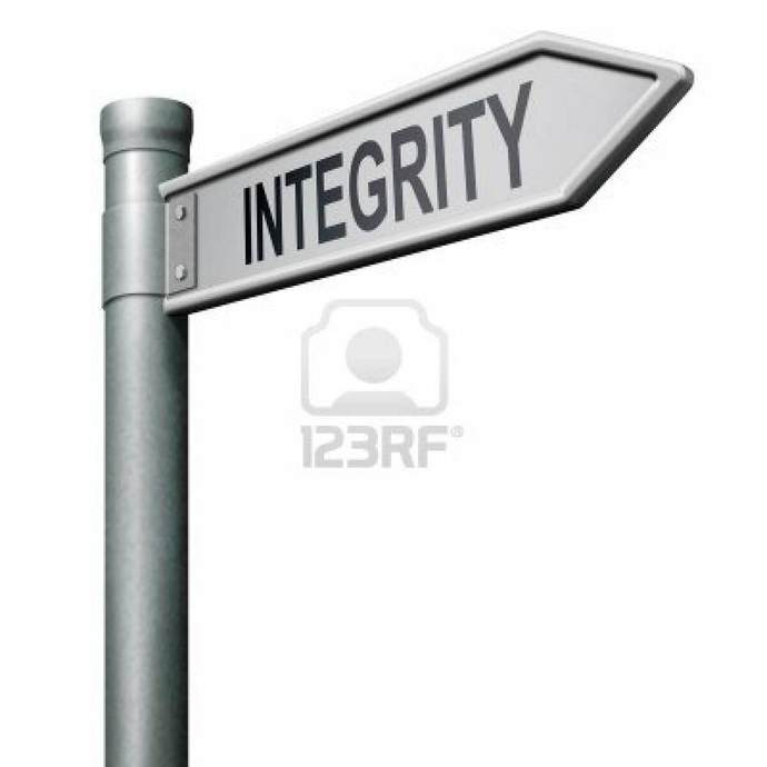 sign saying integrity