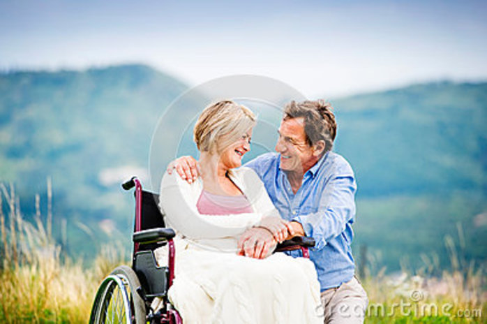 Wheelchair user and spouse