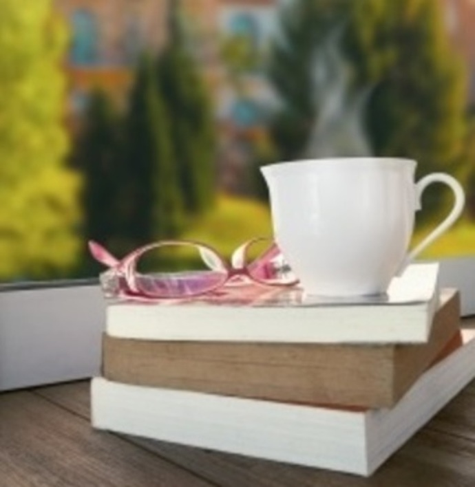 Window with Teacup and book